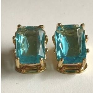 Gold Vintage Style Art Deco Clip On Earrings Aqua